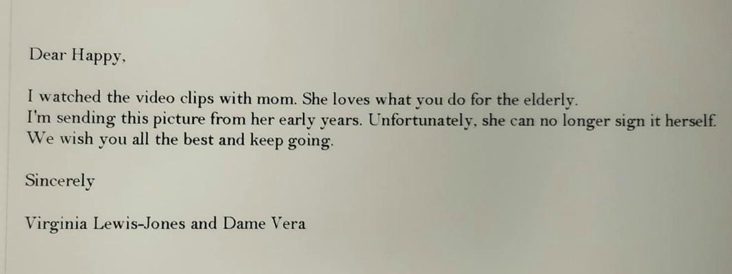 bedankje van Vera Lynn voor Happy Hendrix